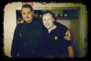 P. J. and Bruce Rickert, lead guitarist with Cirque du Soleil